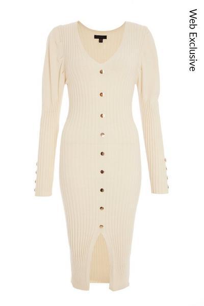 Cream Puff Sleeve Knitted Midi Dress